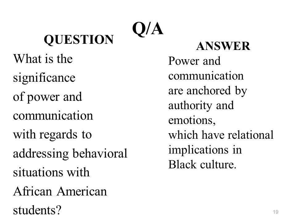 Q/A QUESTION What is the significance of power and communication
