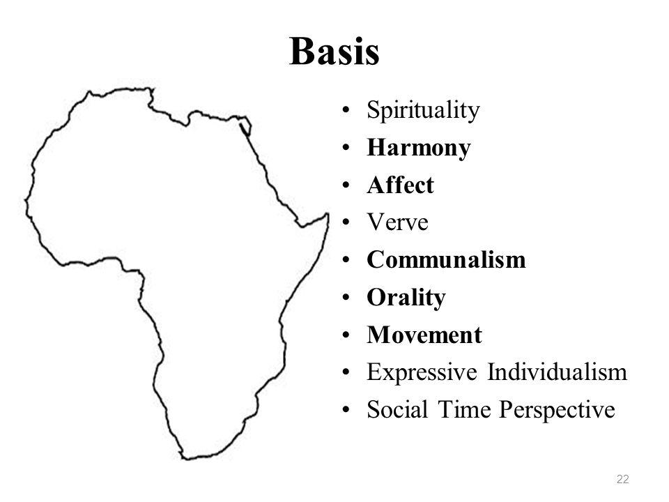 Basis Spirituality Harmony Affect Verve Communalism Orality Movement