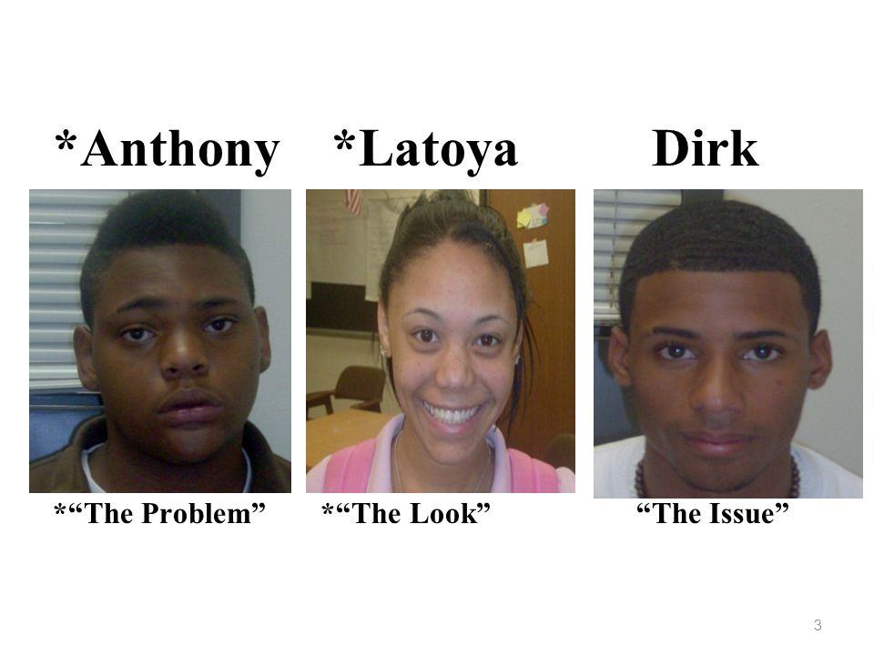 *Anthony *Latoya Dirk * The Problem * The Look The Issue See Notes