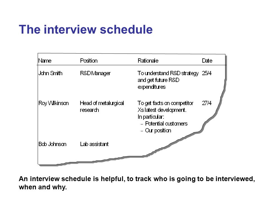 The interview schedule