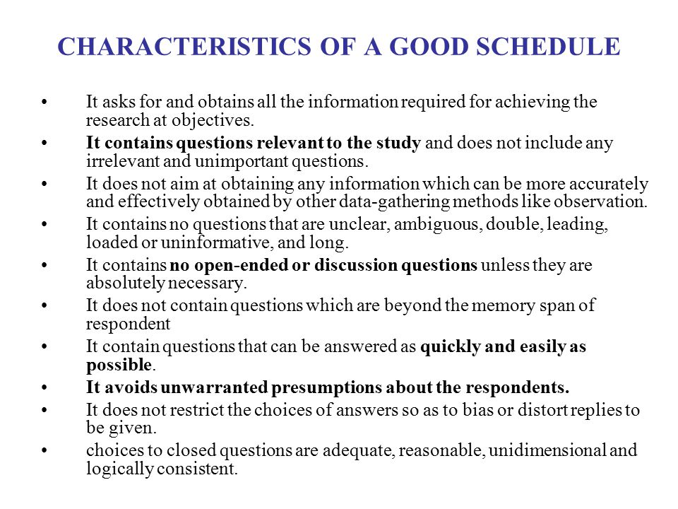 CHARACTERISTICS OF A GOOD SCHEDULE