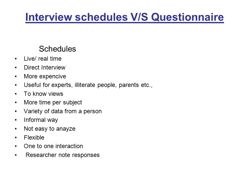 Interview schedules V/S Questionnaire