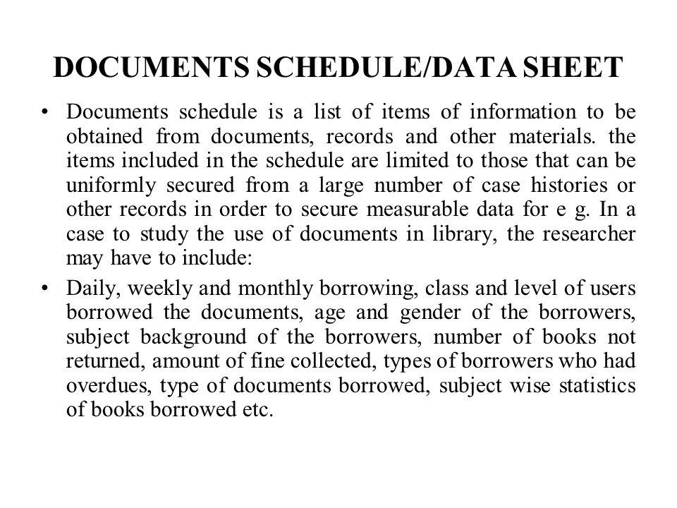 DOCUMENTS SCHEDULE/DATA SHEET