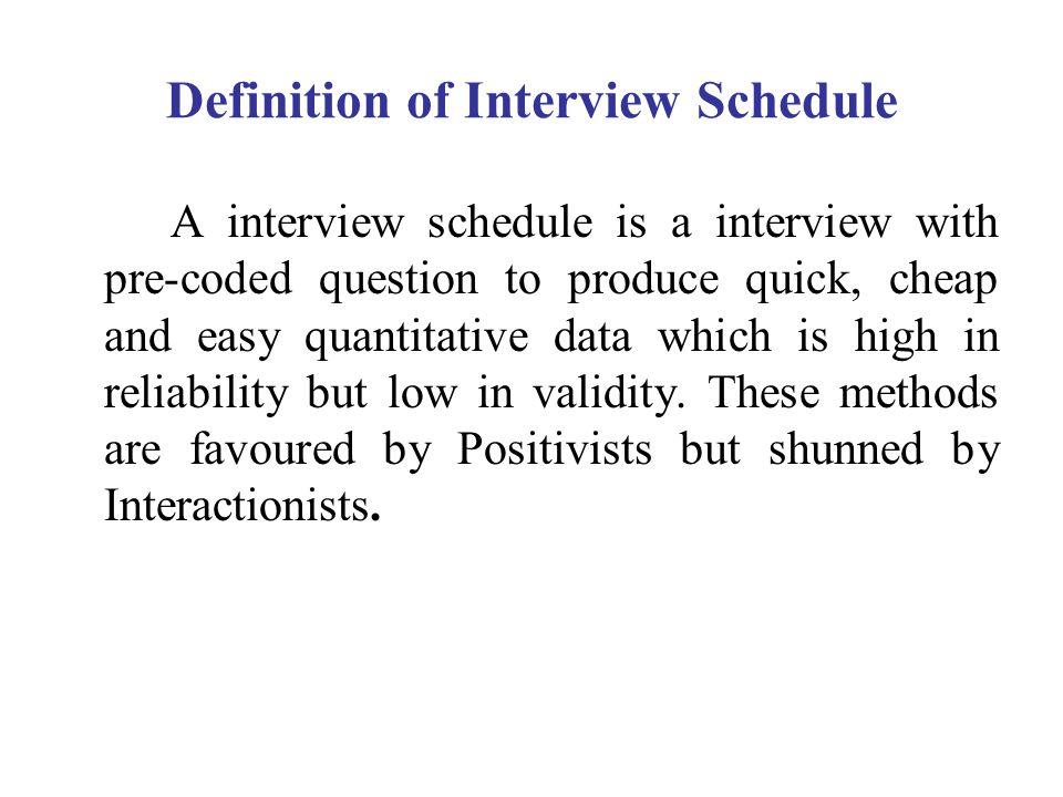 Definition of Interview Schedule