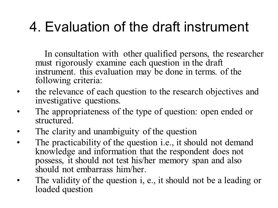 4. Evaluation of the draft instrument