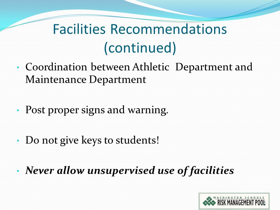 Facilities Recommendations (continued)