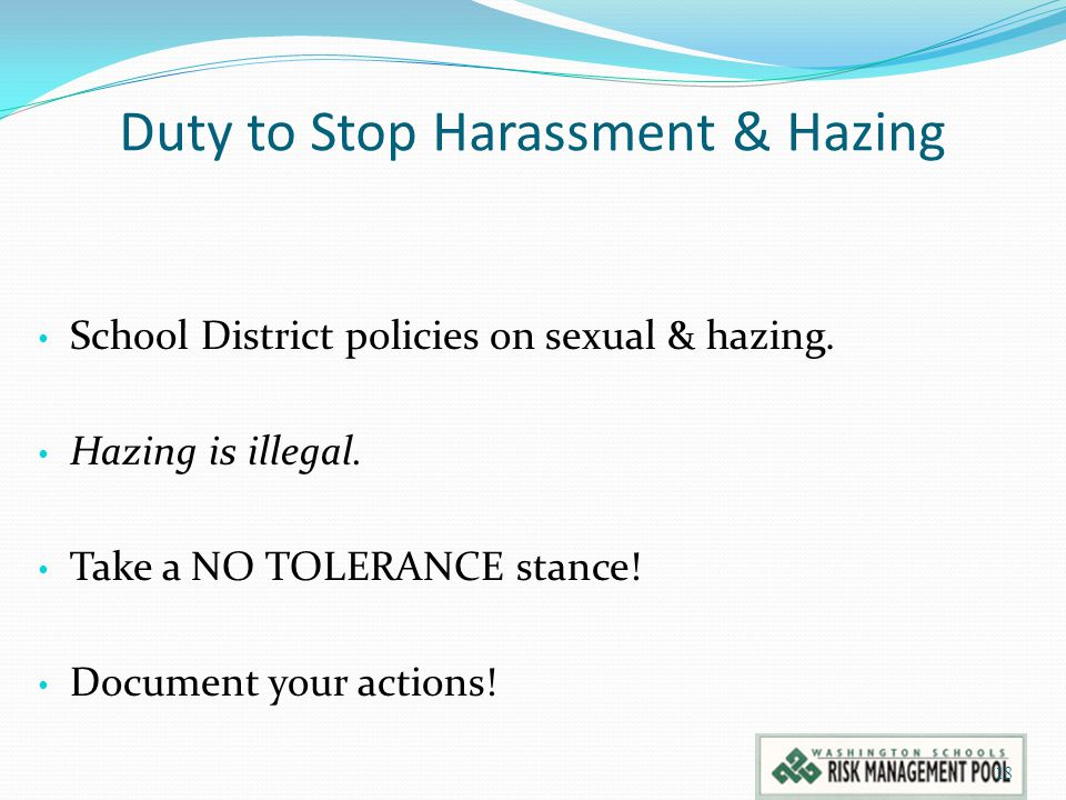 Duty to Stop Harassment & Hazing