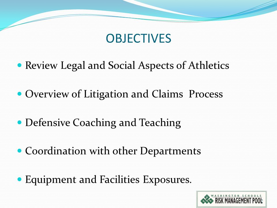 OBJECTIVES Review Legal and Social Aspects of Athletics