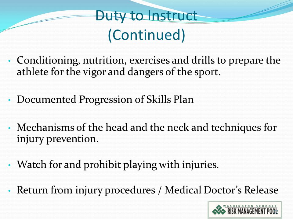 Duty to Instruct (Continued)
