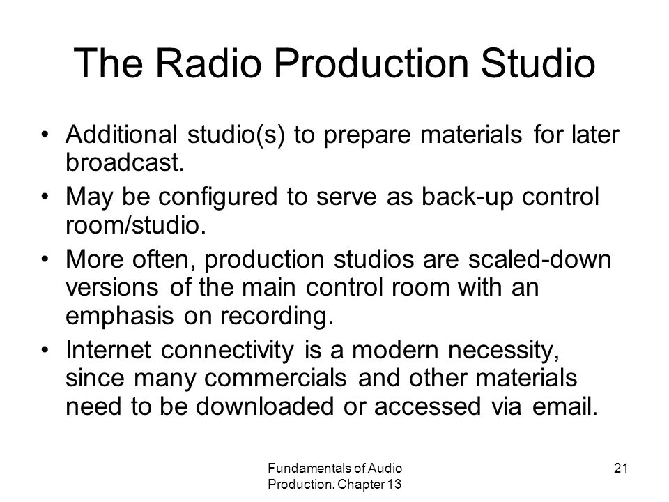 The Radio Production Studio