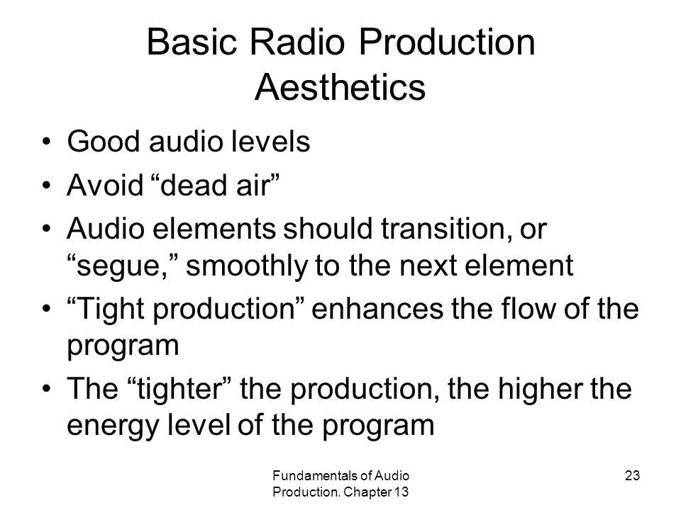 Basic Radio Production Aesthetics