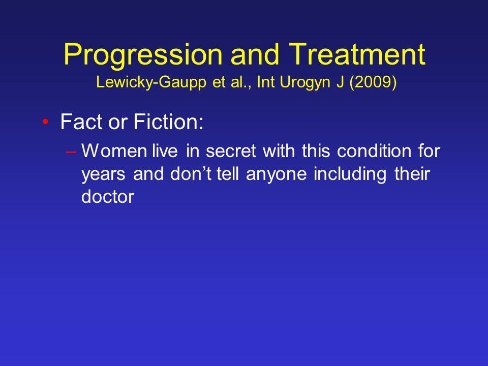 Progression and Treatment Lewicky-Gaupp et al., Int Urogyn J (2009)