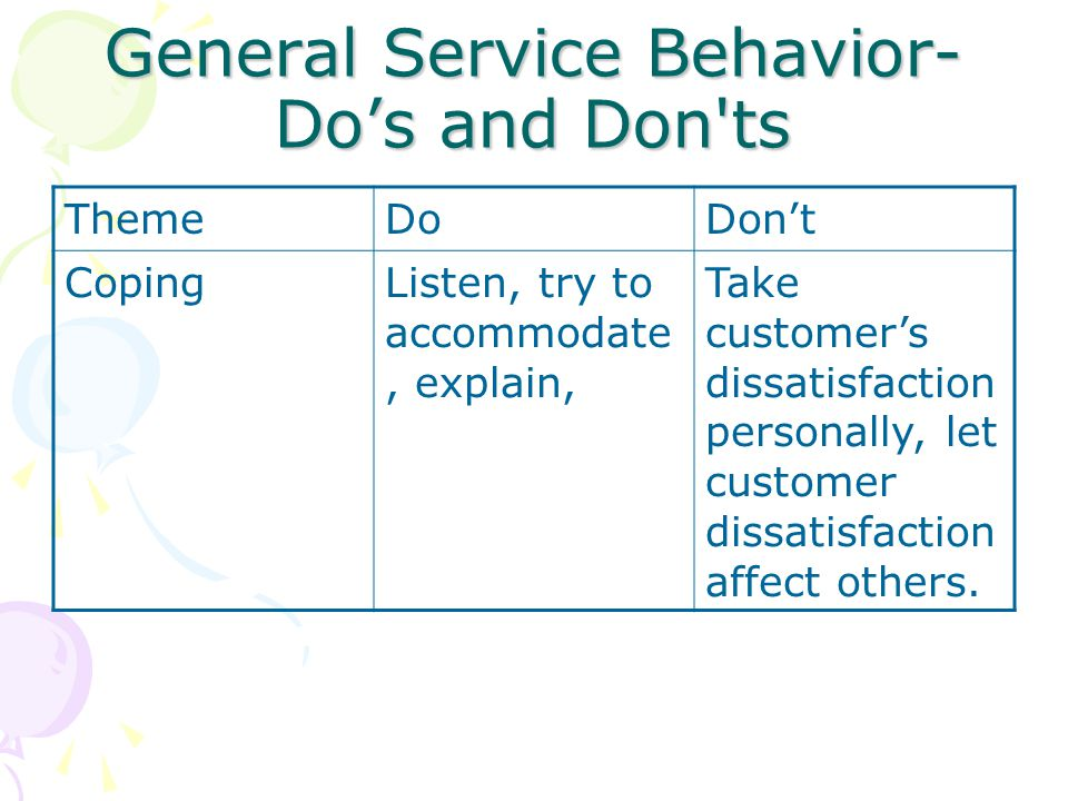 General Service Behavior-Do's and Don ts