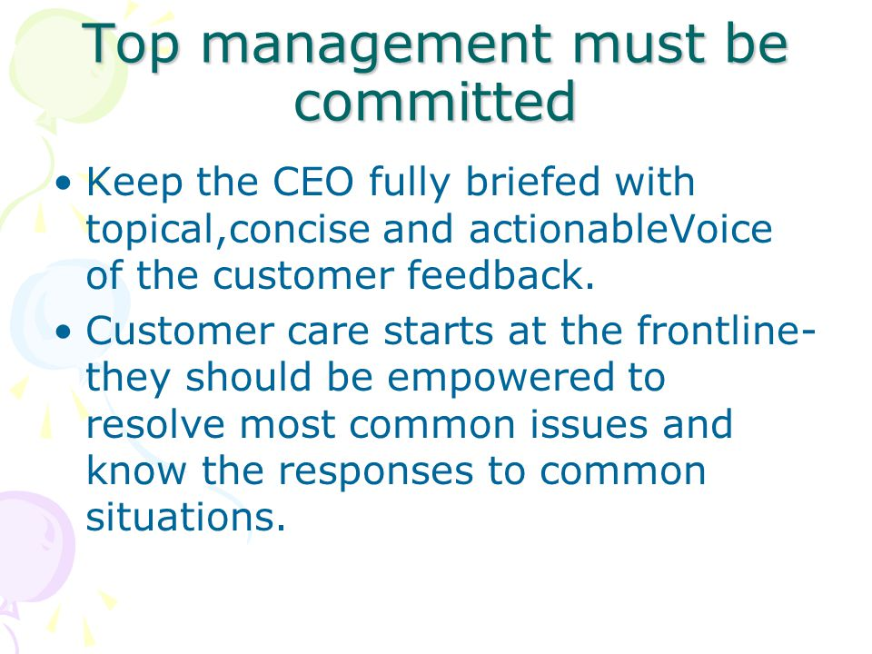 Top management must be committed