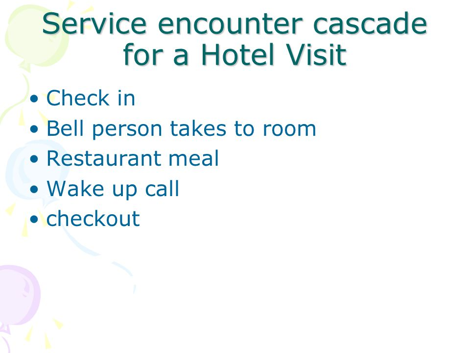 Service encounter cascade for a Hotel Visit
