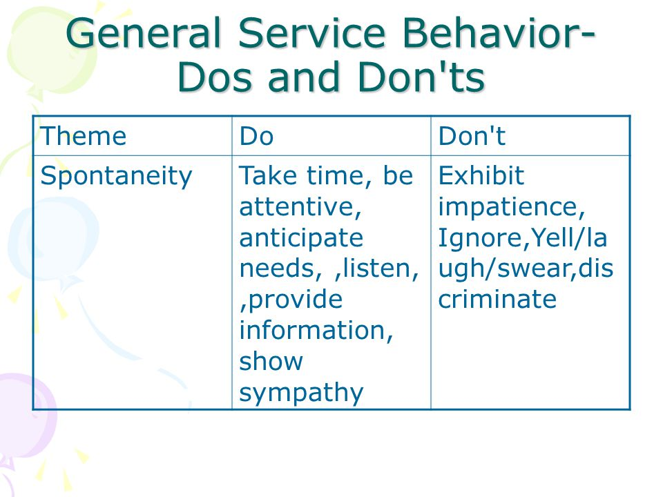 General Service Behavior-Dos and Don ts