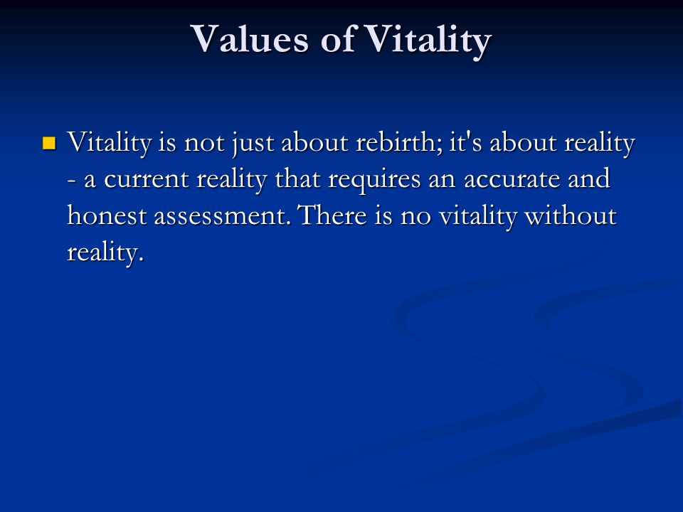 Values of Vitality