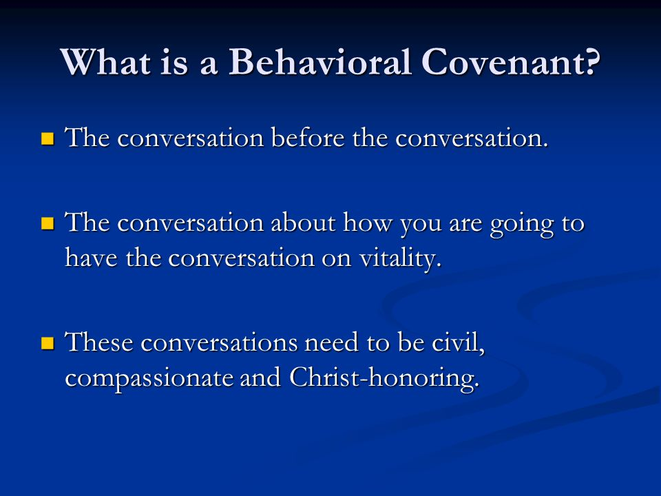 What is a Behavioral Covenant
