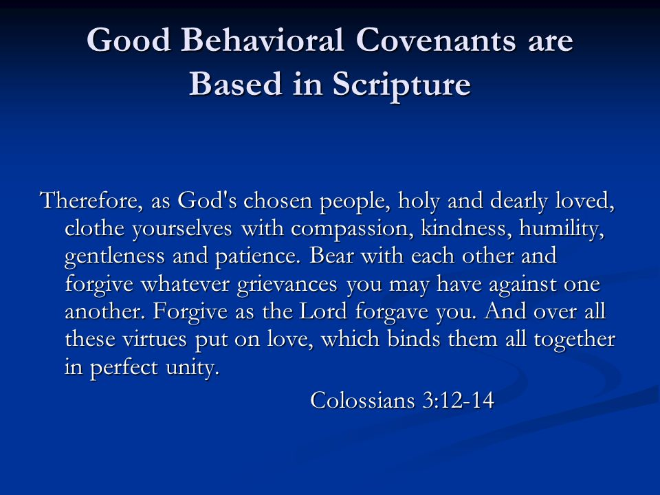 Good Behavioral Covenants are Based in Scripture