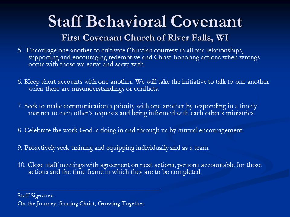 Staff Behavioral Covenant First Covenant Church of River Falls, WI