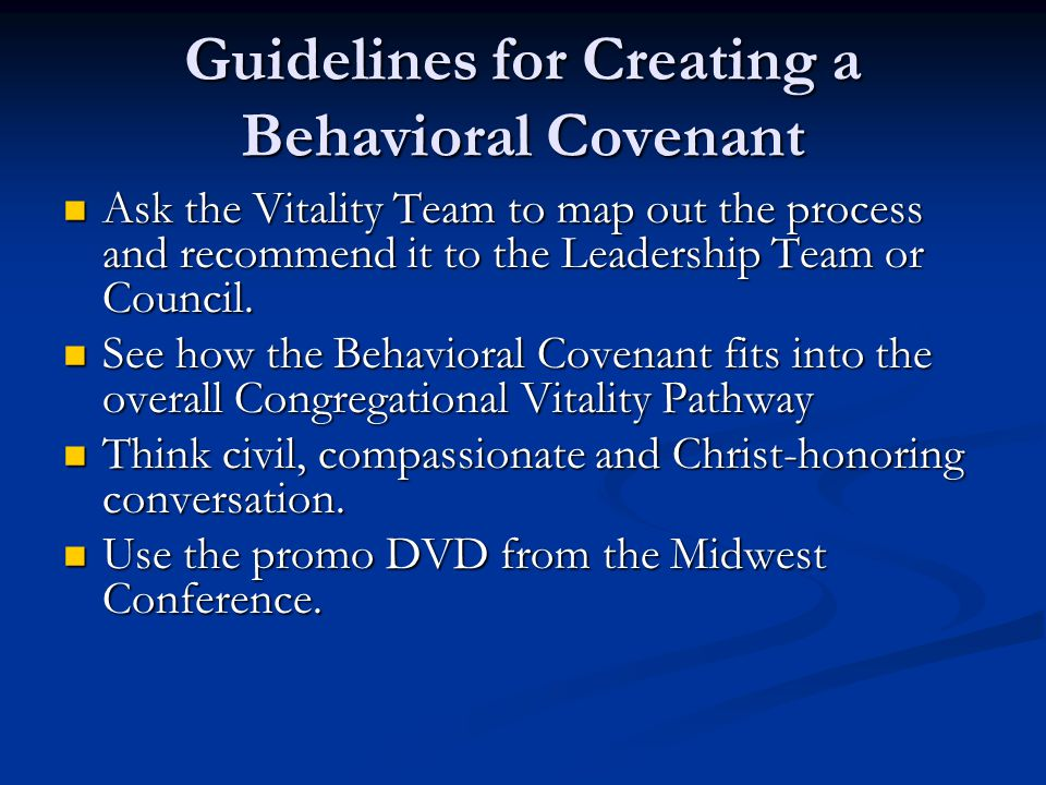 Guidelines for Creating a Behavioral Covenant