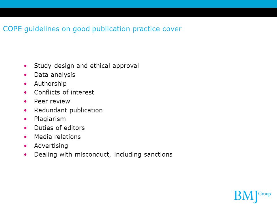 COPE guidelines on good publication practice cover
