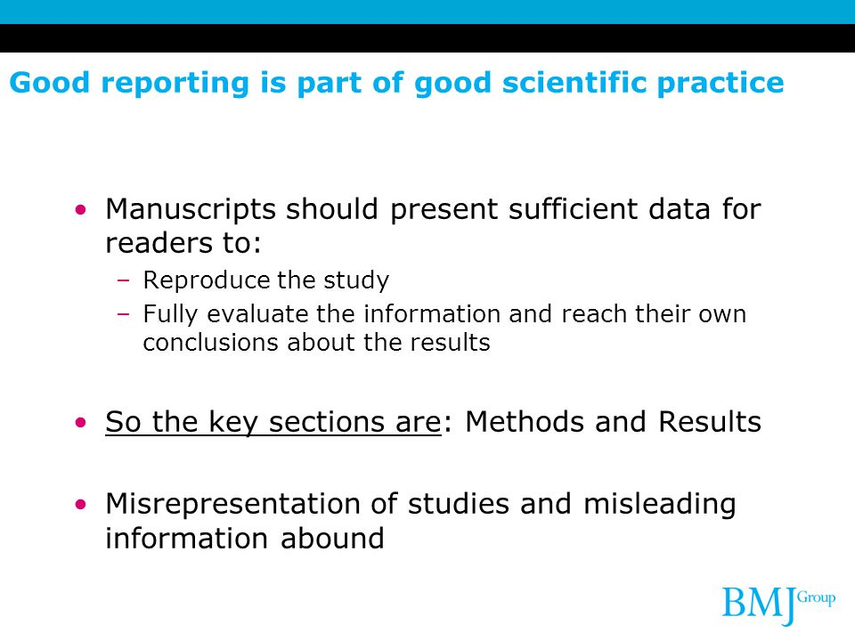 Good reporting is part of good scientific practice