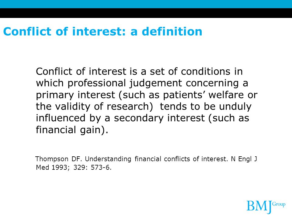 Conflict of interest: a definition
