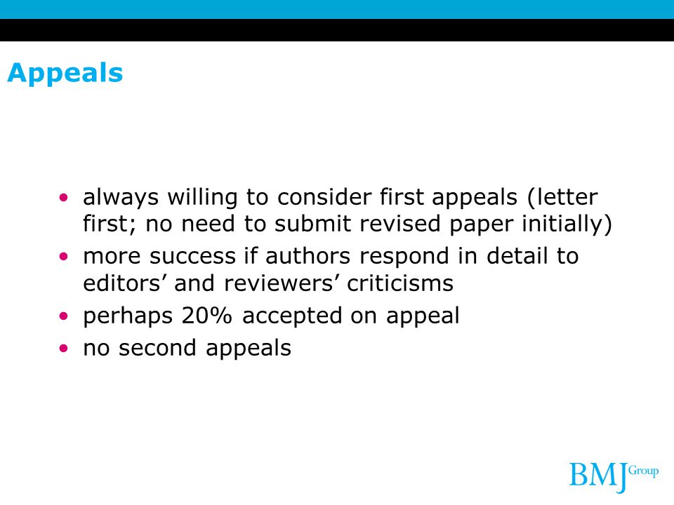 Appeals always willing to consider first appeals (letter first; no need to submit revised paper initially)