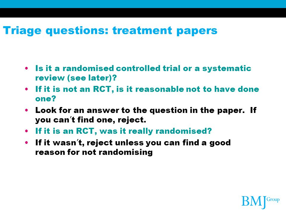 Triage questions: treatment papers