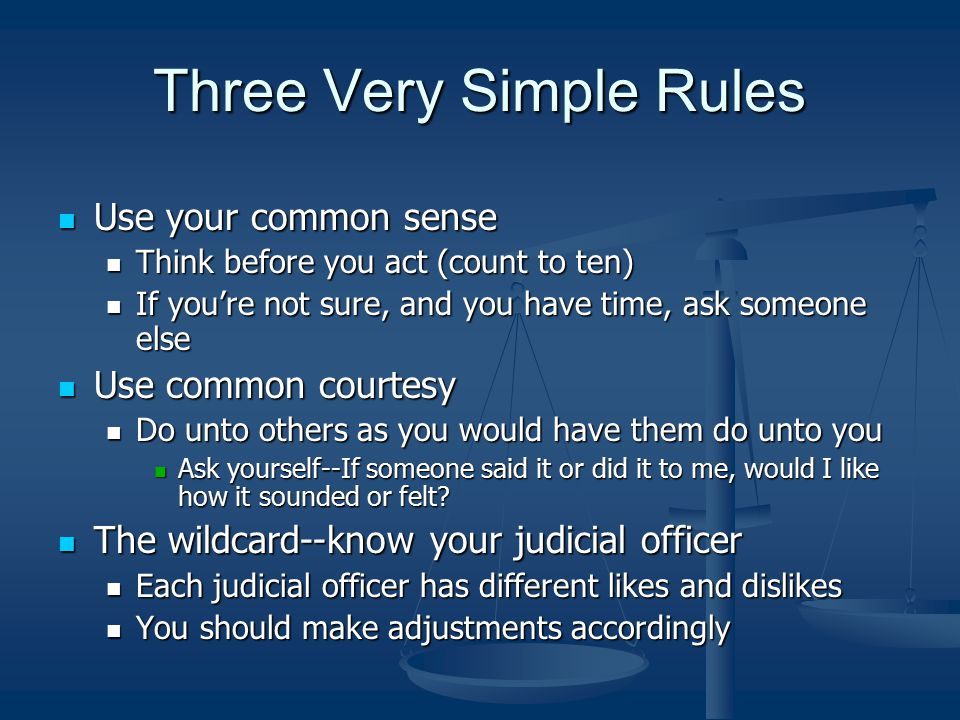 Three Very Simple Rules