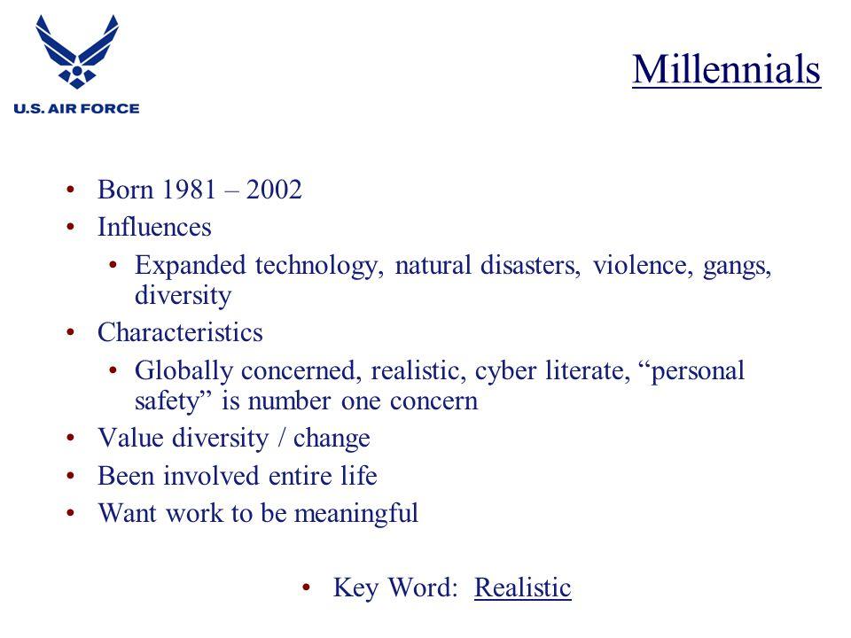 Millennials Born 1981 – 2002 Influences