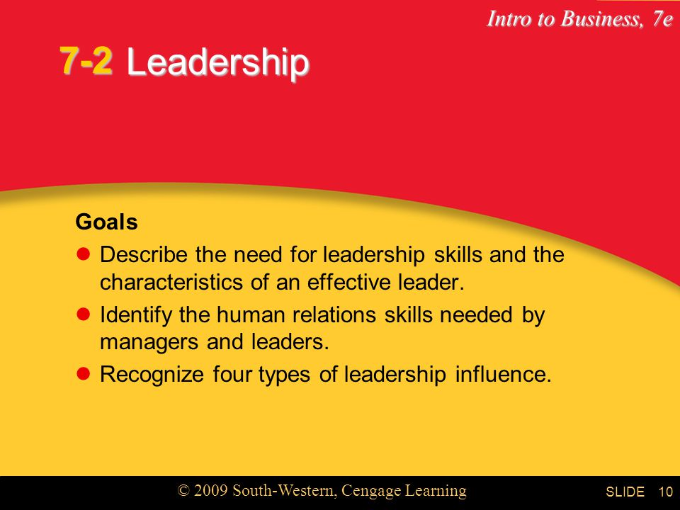 7-2 Leadership. Goals. Describe the need for leadership skills and the characteristics of an effective leader.
