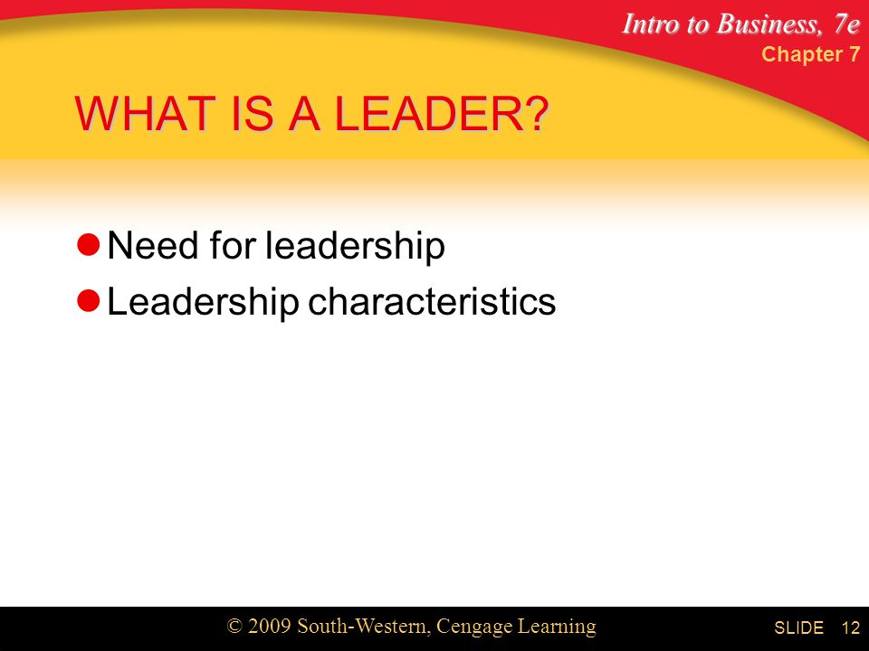 WHAT IS A LEADER Need for leadership Leadership characteristics
