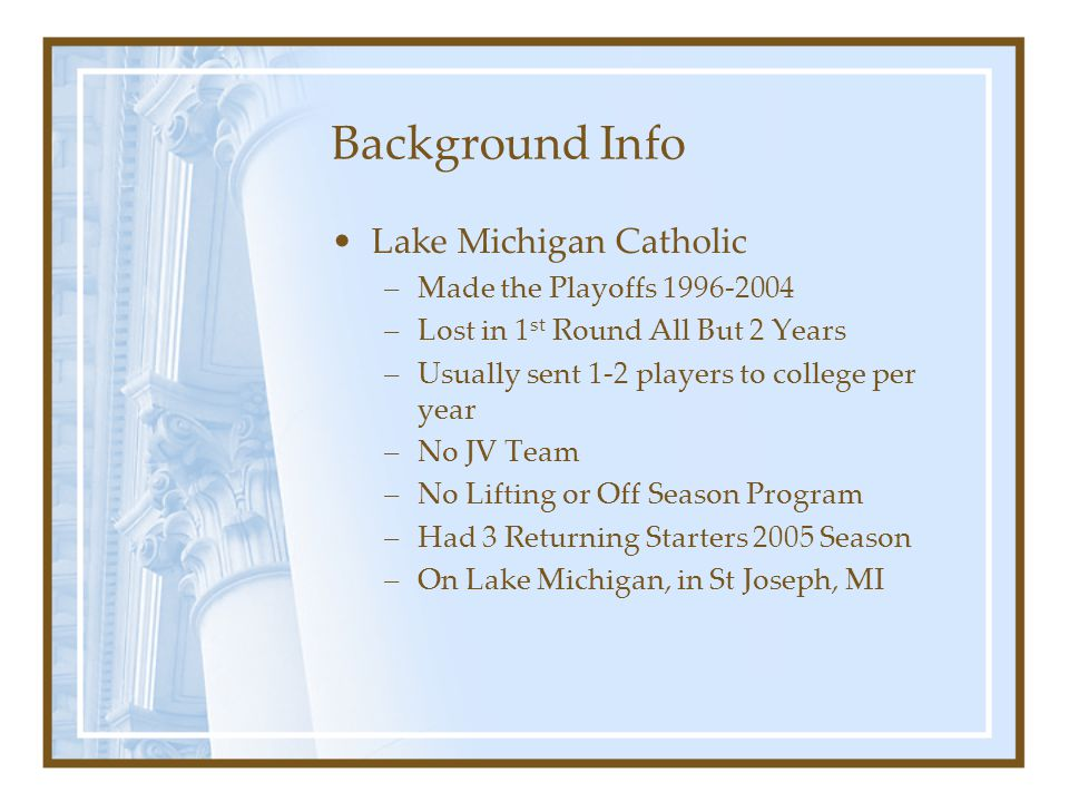 Background Info Lake Michigan Catholic Made the Playoffs 1996-2004