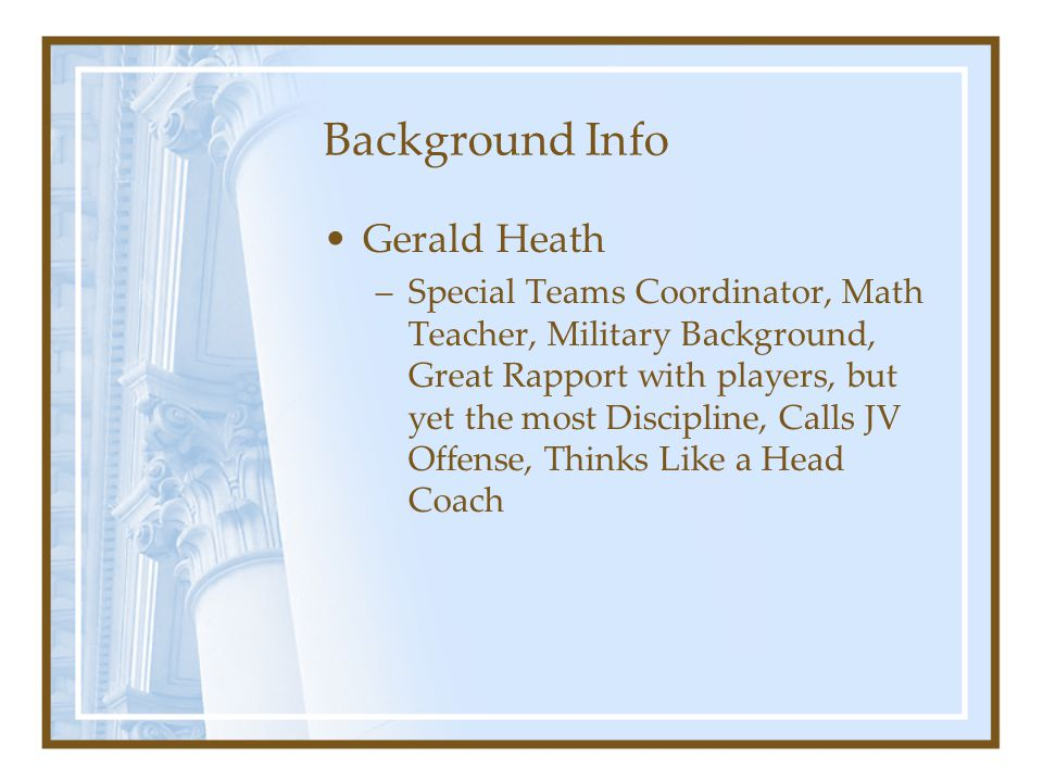 Background Info Gerald Heath