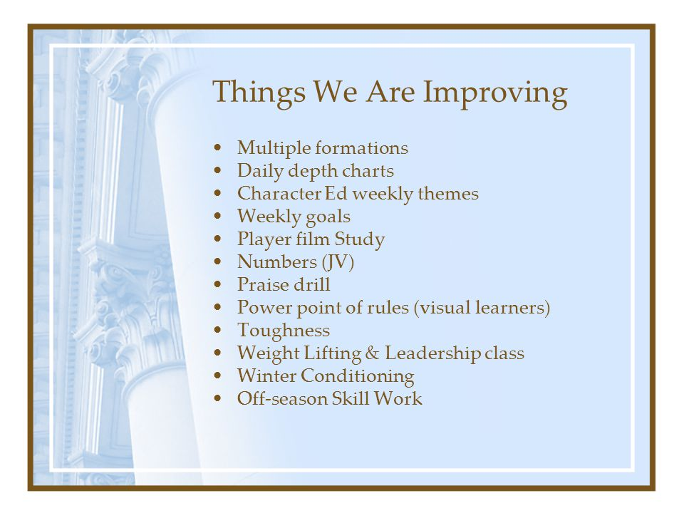 Things We Are Improving