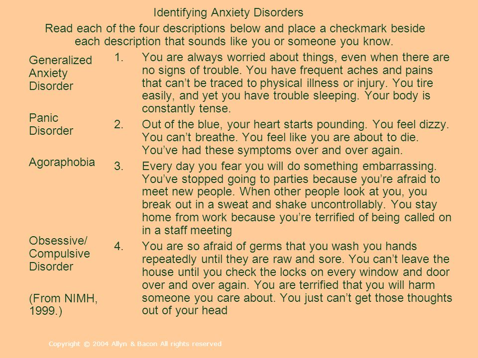 Identifying Anxiety Disorders