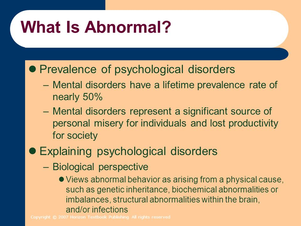 What Is Abnormal Prevalence of psychological disorders