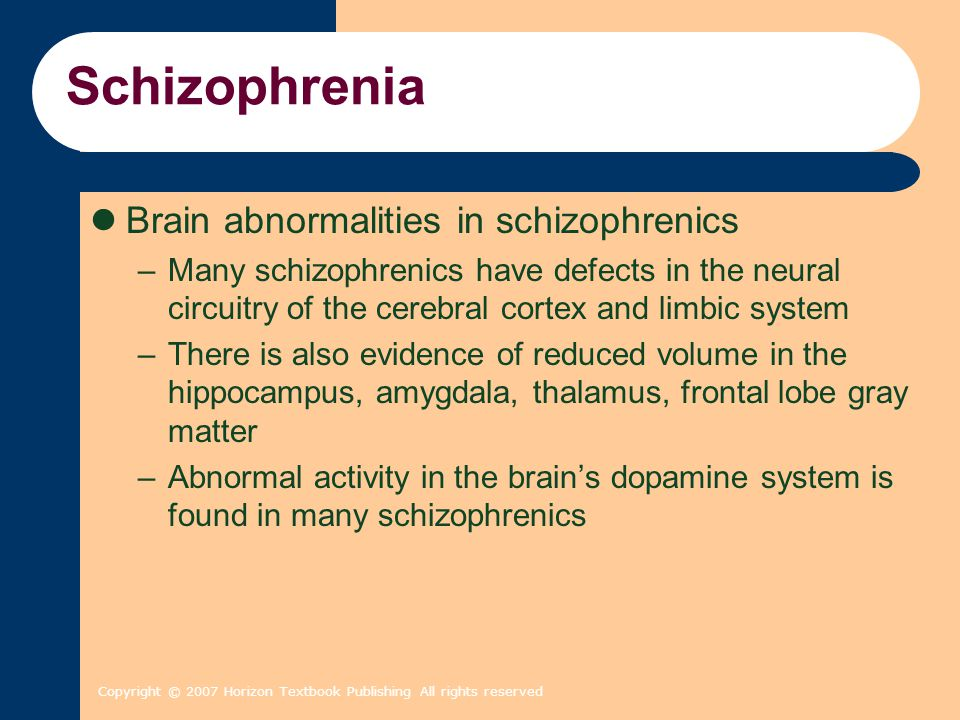 Schizophrenia Brain abnormalities in schizophrenics