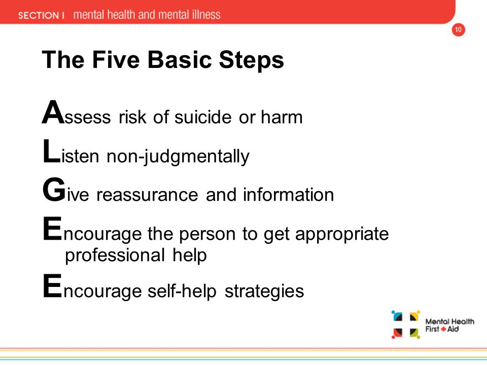 Assess risk of suicide or harm Listen non-judgmentally