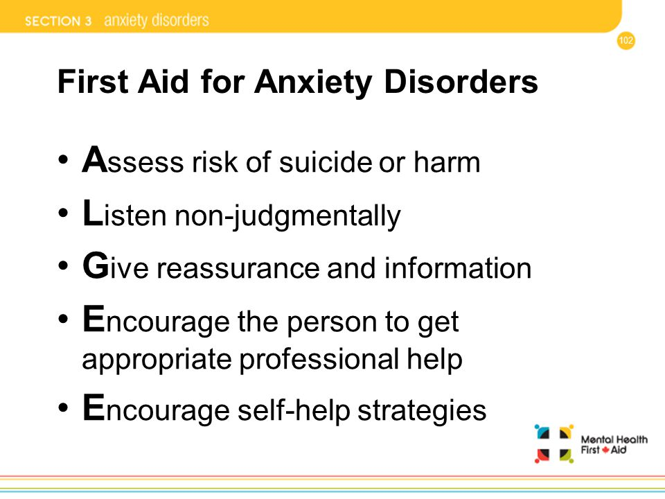 First Aid for Anxiety Disorders