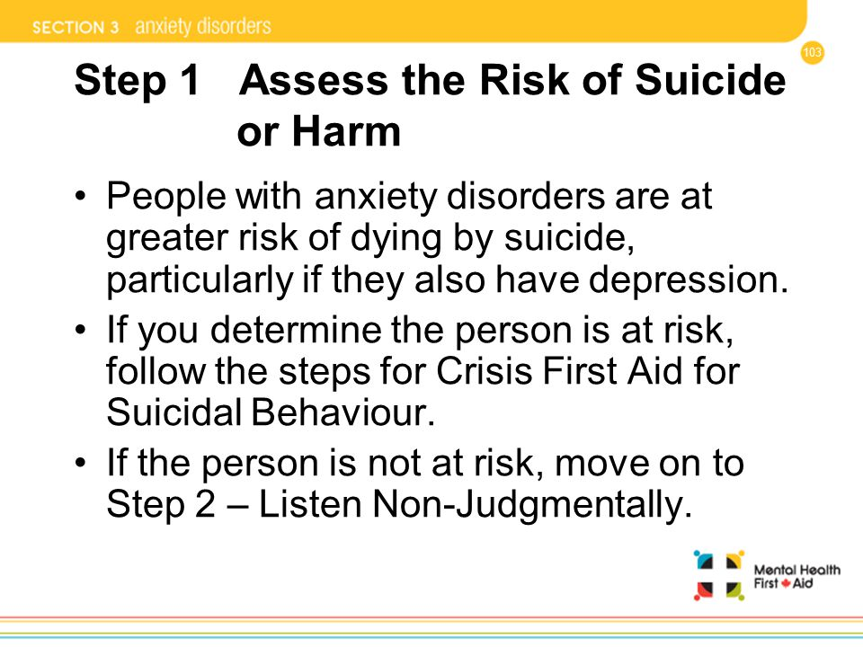 Step 1 Assess the Risk of Suicide or Harm