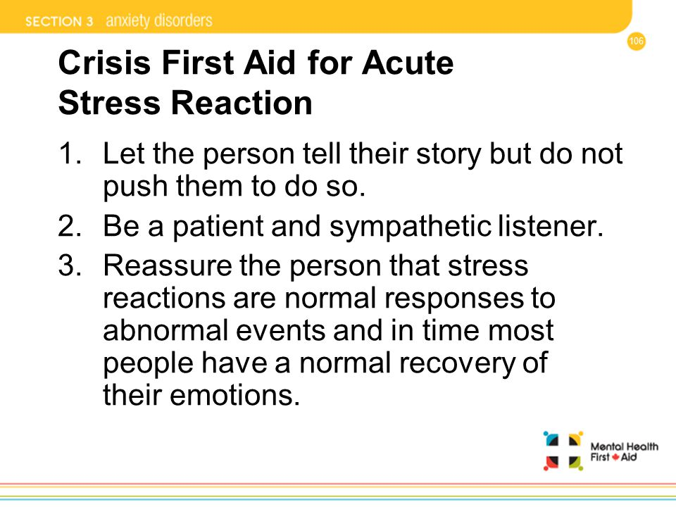Crisis First Aid for Acute Stress Reaction