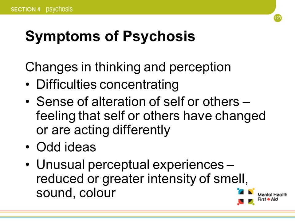 Symptoms of Psychosis Changes in thinking and perception