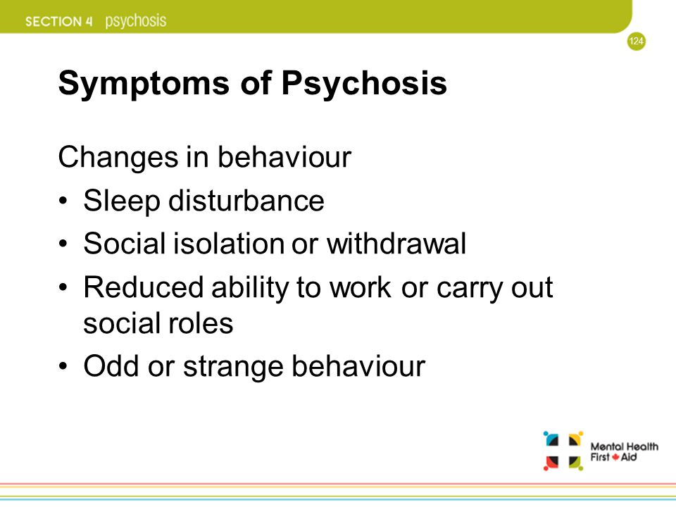 Symptoms of Psychosis Changes in behaviour Sleep disturbance