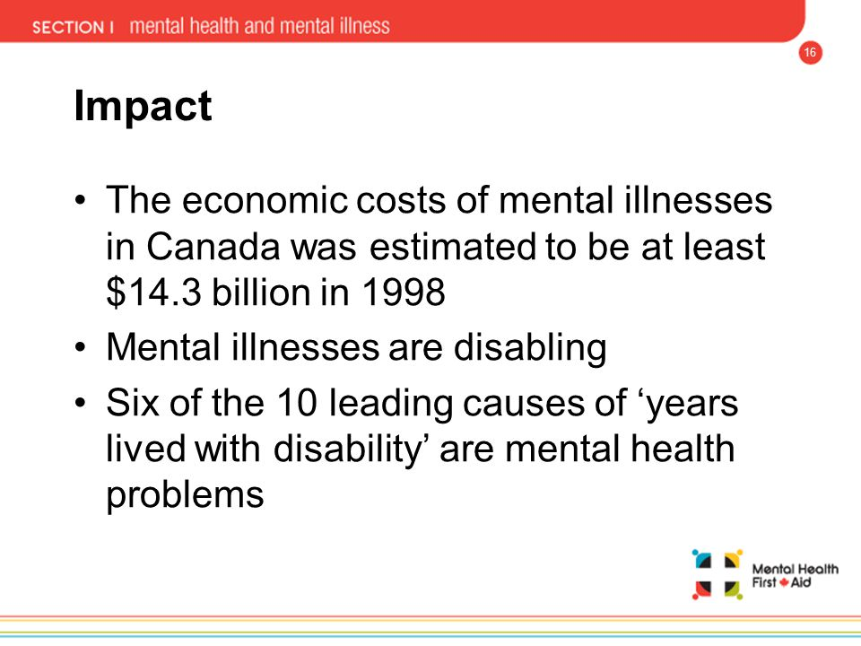 Impact The economic costs of mental illnesses in Canada was estimated to be at least $14.3 billion in 1998.
