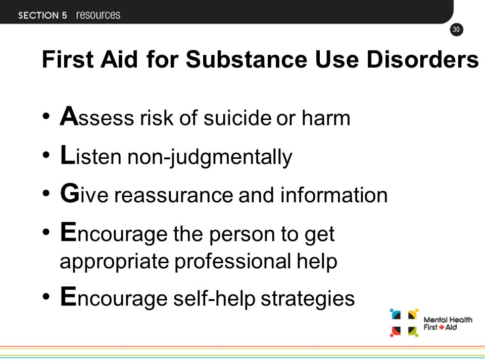 First Aid for Substance Use Disorders