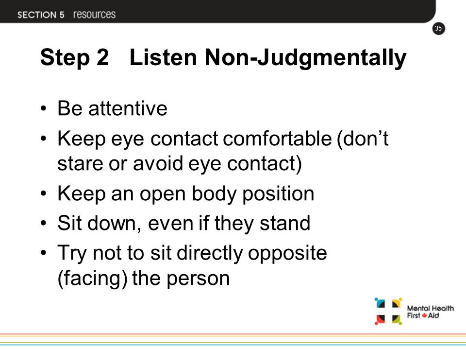 Step 2 Listen Non-Judgmentally