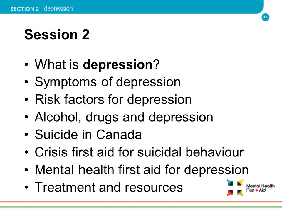 Session 2 What is depression Symptoms of depression